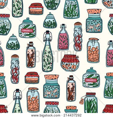 Colorful seamless pattern with pickled vegetables and spices in glass jars and bottles hand drawn on white background. Vector illustration for wallpaper, backdrop, textile print, wrapping paper