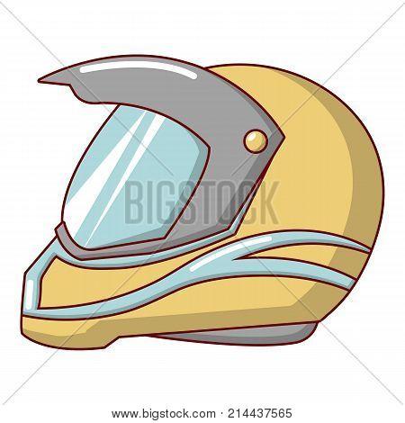 Motorcycle helmet racing icon. Cartoon illustration of motorcycle helmet racing vector icon for web