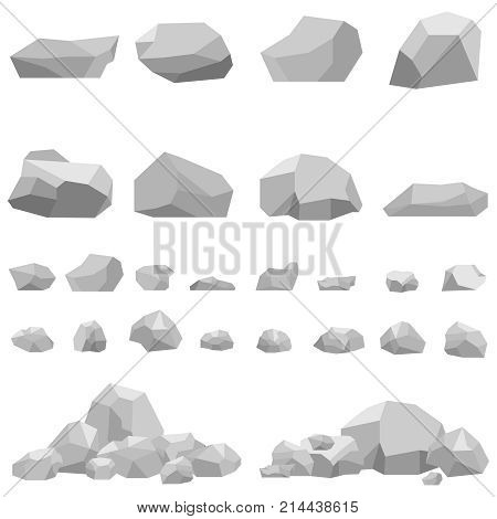 Stones large and small stones a set of stones. Flat design vector illustration vector.