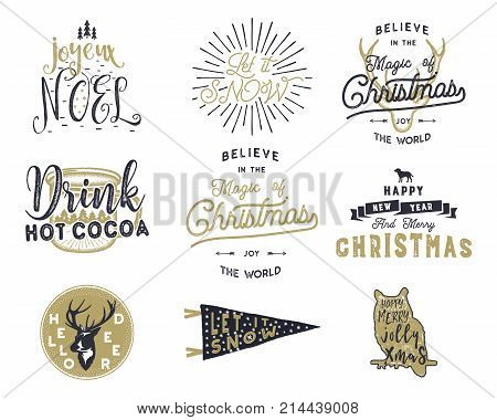 Big Merry Christmas typography quotes, wishes bundle. Sunbursts, ribbon and xmas noel elements, icons. New Year lettering, sayings, vintage labels, Seasonal greetings calligraphy. Stock vector isolate