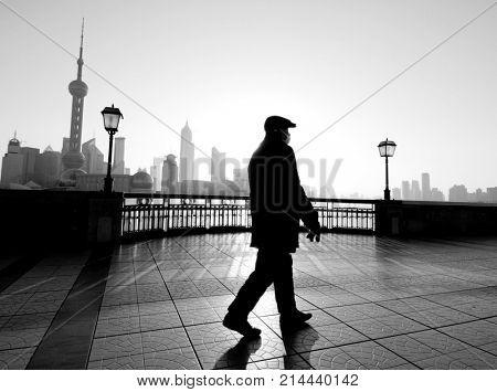 Man walking in Shanghai.
