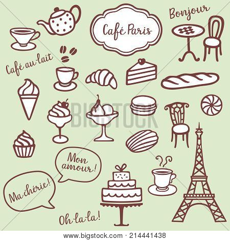 Collection of different bakery coffe and Paris symbols