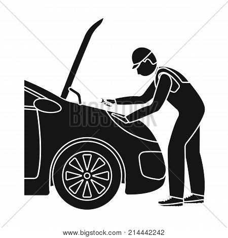 Auto mechanic and adjustment single icon in black style for design.Car maintenance station vector symbol stock illustration .