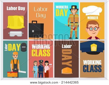 Labor Day, workers and working Class promotion posters collection. Banners with vector illustrations of most common jobs and repairing equipment.