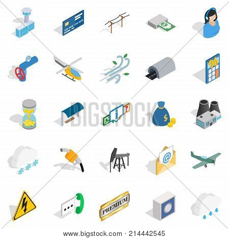 Aeronautical icons set. Isometric set of 25 aeronautical vector icons for web isolated on white background