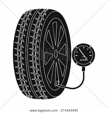 Wheel and manometer single icon in black style for design.Car maintenance station vector symbol stock illustration .
