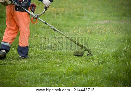 A man with a lawnmower on grassy field in the yard. Man mowing grass with a trimmer.