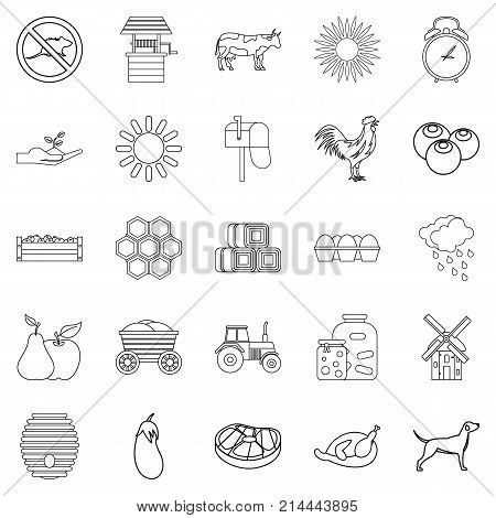 Agricultural icons set. Outline set of 25 agricultural vector icons for web isolated on white background