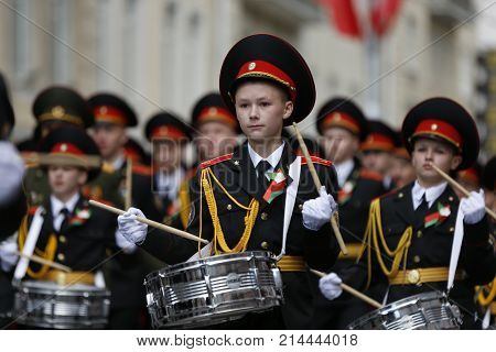 Belarus, Gomel, May 9, 2017, the Victory Day celebration.Boys cadets with drums.Boys are soldiers. Russian teenagers. The future of the Red Army. Great Russia