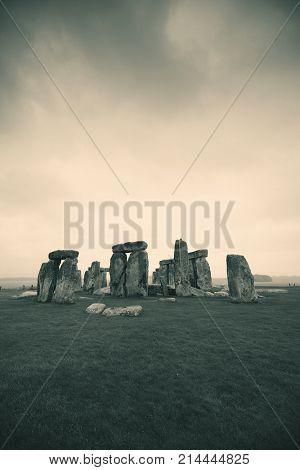 Stonehenge with cloud near London as the National Heritage site of UK.