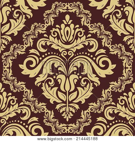 Orient vector classic pattern. Seamless abstract background with repeating elements. Orient golden background