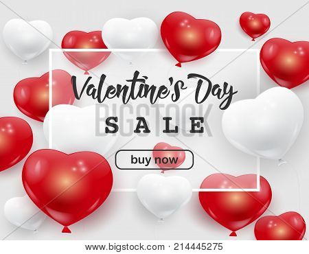Valentine's Day sale web banner flyer concept. Red white cute balloons, white frame, Valentine's Day sale poster. Valentine Day background, vector illustration. Valentines Day sale advertisement.