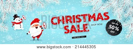Christmas sale discounts. A festive New Year banner. Santa Claus and Snowman announces discounts through a megaphone. Snow branches of the Christmas tree. Vector illustration