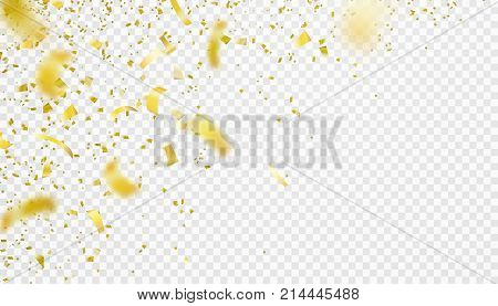 Confetti falling motion background. Shiny gold flying tinsel for party, anniversary, birthday, carnival decoration design. Blurred tiny paper pieces. Vector illustration on transparent backdrop