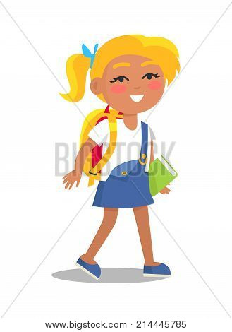Blonde schoolgirl in uniform in blue and white colors with backpack and book in one hand isolated. Cartoon female character, first year pupil vector