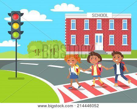 Pupils go home after classes crossing pedestrian vector illustration. Schoolchildren holding hand on background of school building.