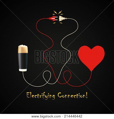 Beer and heart electrifying connection design template