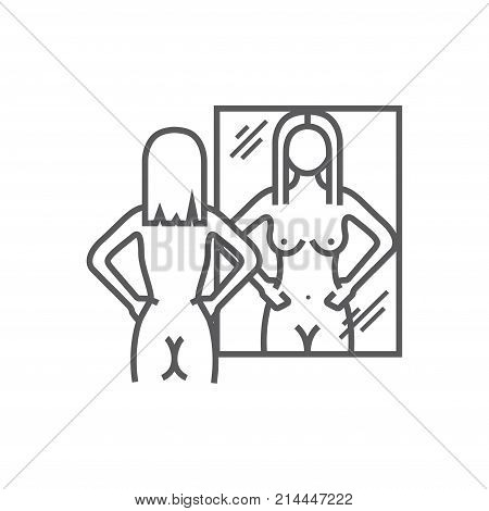 Naked girl looks in the mirror. Vector illustration
