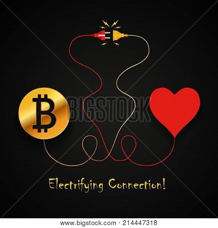 Bitcoin and heart electrifying connection background design