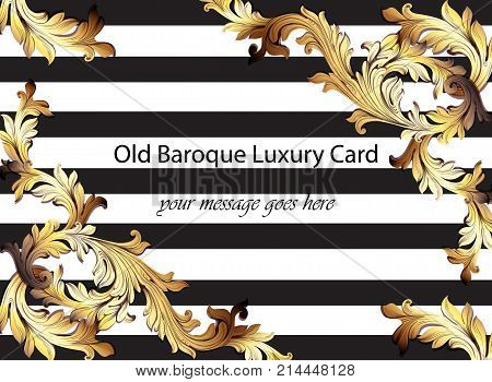 Baroque Pattern Vector Illustration Handmade Ornament Decor. Striped Horizontal Background. Gold Det