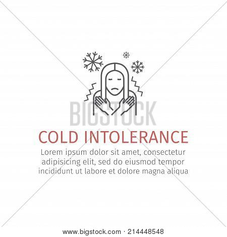 Girl chill, fever on white background. Vector signs for web graphics