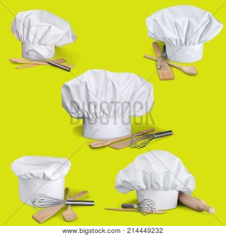 White cook cap utensils cooks color image professional occupation