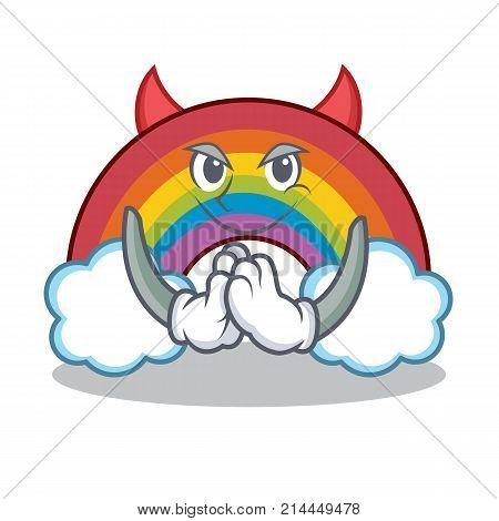 Devil colorful rainbow character cartoon vector illustration