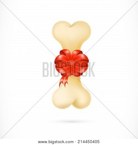Illustration of dog bone with red ribbon and bow. Holiday, animals, gift. Charity concept. Can be used for topics like New Year, Christmas, volunteering