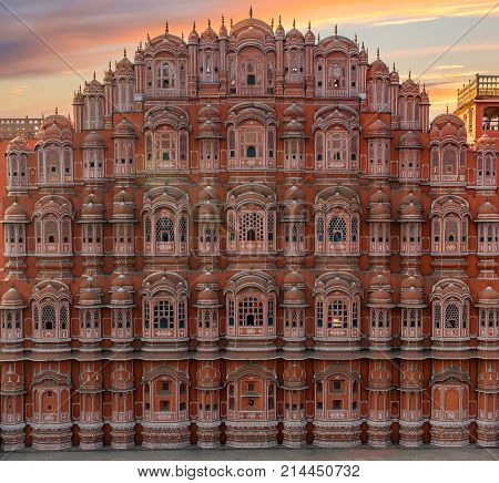 Beautiful view to Hawa Mahal in Jaipur, Rajastan. Travel concept in India