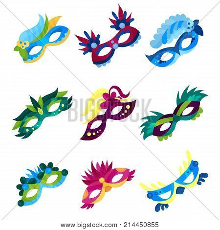 Masquerade masks set, colorful carnival masks with feathers vector Illustrations on a white background
