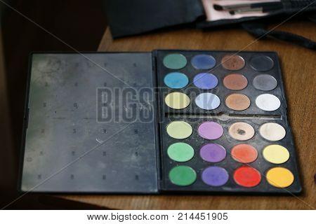 A set of eye shadow. A palette for shadows. Eye shadow.