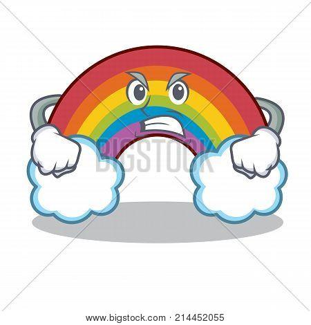 Angry colorful rainbow character cartoon vector illustration