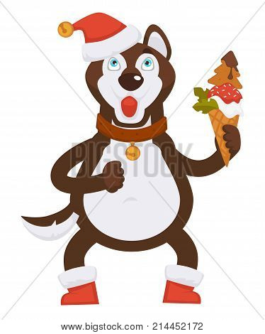 Husky dog in collar with gold medallion, warm boots and Christmas hat with bell holds ice cream covered with strawberry jam in waffle cone isolated cartoon vector illustration on white background.