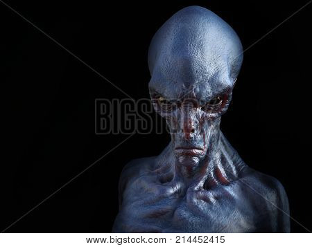Portrait of an angry looking alien creature 3D rendering. Black background.