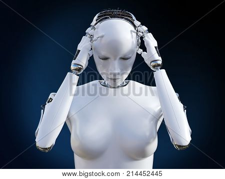 3D rendering of a female robot holding her head because she is having a headache or migraine.