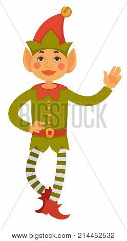 Santa's little helper with big ears in cone hat with bell on top, green shirt with belt, striped leggings and boots with pointed nose isolated cartoon flat vector illustration on white background.