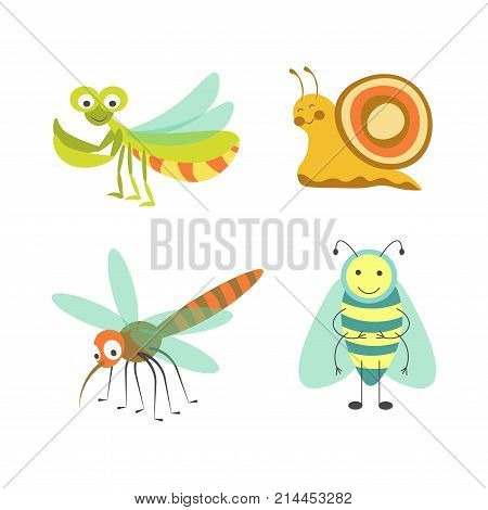 Funny insects with cheerful faces isolated vector illustrations set on white background. Mantis with huge eyes, snail with colorful shell, nasty mosquito with long nose and friendly striped bee.