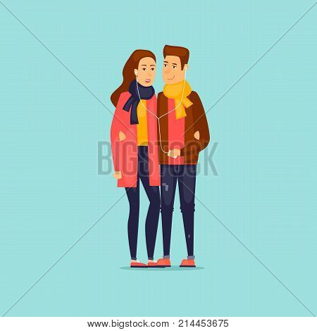 Guy and girl listening to music on headphones. Flat design vector illustration.