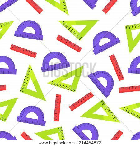 Seamless pattern with colorful rules vector illustrations isolated on white background.