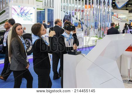 St. Petersburg, Russia - 3 October, Young people on the forum, 3 October, 2017. Participants and visitors of the annual St. Petersburg Gas Forum.