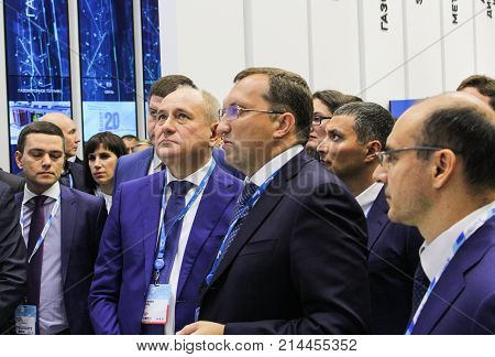 St. Petersburg, Russia - 3 October, Delegation of business people at the gas forum, 3 October, 2017. Participants and visitors of the annual St. Petersburg Gas Forum.