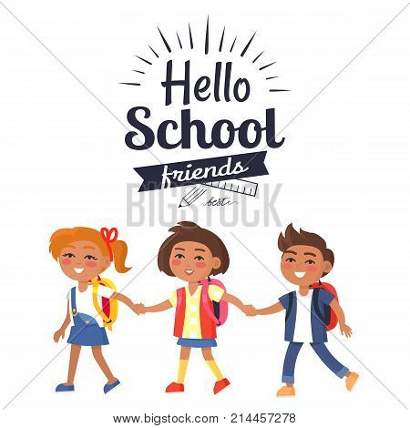 Hello school friends sticker with inscription. Vector illustration of plastic ruler and graphite pencil logo with colorful children holding hands isolated