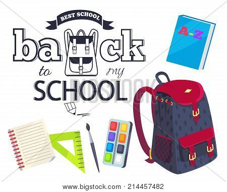 Back to my school black and white cartoon style sticker with inscription. Vector of backpack along with graphite pencil, brush with paints