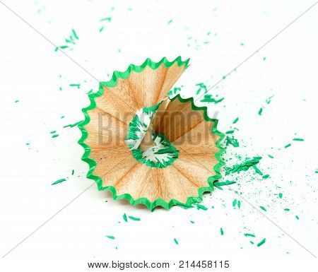 crayon or pencil and sharpener isolated on White Background