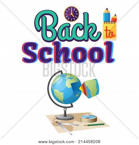 Back to school geography sticker isolated on white. Vector illustration of terrestrial globe, Earth cutaway, world map, compass and miscellaneous stationery