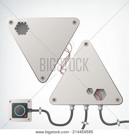 Metallic technical industrial box composition as two grey triangle with different high-tech wires and one socket on the metal background vector illustration