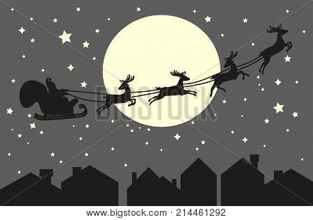 Santa Claus riding in a sleigh with harness on the reindeer on the urban city backgorund. Roofs and sky with moon background. Vector illustration