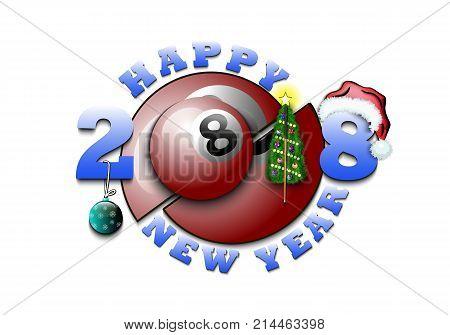 Happy New Year And Billiard Ball