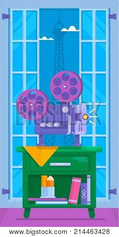 Cinema movie vector poster.Home movie watching. Flat Vector illustration of film projector