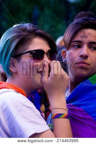 Photograph of young people taken at the lesbian and transgender gay pride march in the city of Buenos Aires in November 2017